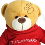 """Oso feliz aniversarioUn tierno osito de peluche con una camiseta de """"feliz aniversario""""."""